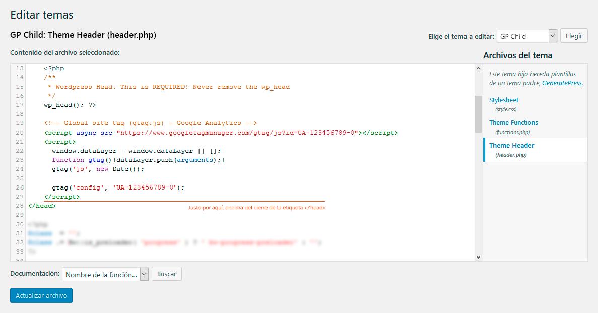 Cómo añadir el código de Google Analytics sin plugin | Alejandro Gil ...