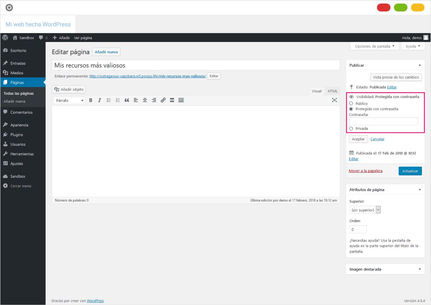 Captura de la pantalla de edición de entrada/página en WordPress